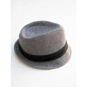Grey Trilby Hat Leopard Print Lining S/M